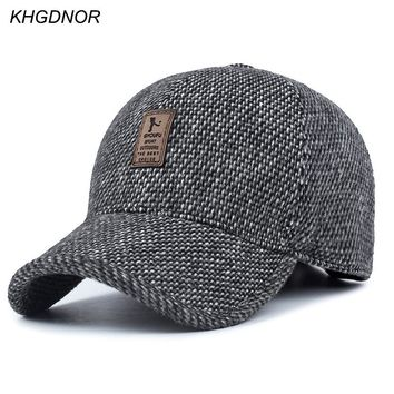 KHGDNOR Warm Thickened Baseball Cap With Ears  for Men Cotton Hat Snapback Hats Ear Flaps For Men Hats Winter Spring Autumn Hats