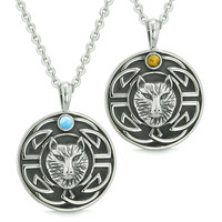 Amulets Love Couple or Best Friends Celtic Viking Wolf Tiger Eye Simulated Turquoise Pendant Necklaces