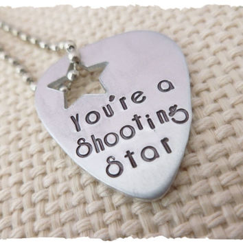 Shooting Star Guitar Pick Necklace Silver Jewelry gift for best friend wife daughter son girlfriend musician play rockstar metal pick