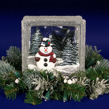 glass snowman decoration christmas block ornament by frostyblocks - Glass Block Christmas Decorations