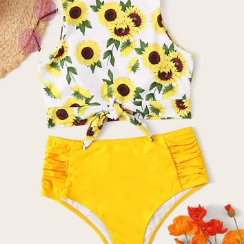 Sunflower Print Knot Hem Top With Ruched Bikini Set