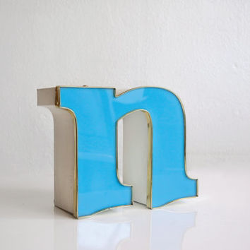 "Vintage Channel Signage Letter ""n"" in Sky Blue with Gold Trim"