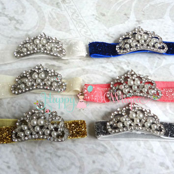 Princess Crown tiara Rhinestone Glitter headband