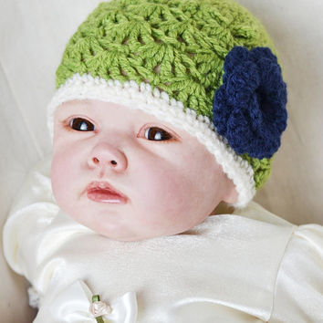 Baby Girl Newborn crochet Shell Pattern Rose Meadow Green Spring Hat Summer Hat Flower Beanie Hat Photo Prop Hat