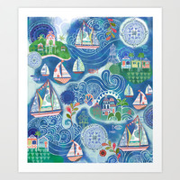Dream Boats Art Print by Janet Broxon
