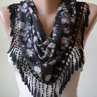New-  Autumn Scarf- Black and Grey Flowered Scarf with Black Trim Edge
