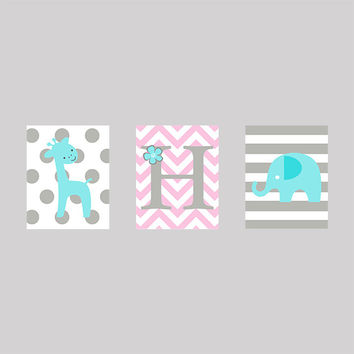 Instant Download Set of 3 Monogram Letter Giraffe and Elephant in Aqua Gray and Pink Prints Digital  Nursery Decor CUSTOM COLORS  8x10
