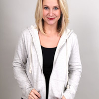 Taking It Easy Zip Up - {Light Gray}