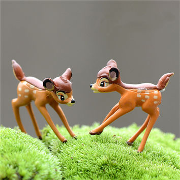 2pcs Artificial Mini Sika Deer Fairy Garden Miniatures Gnomes Moss Terrariums Resin Crafts Figurines For Home Decoration 2016