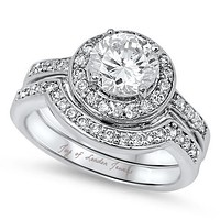 A Perfect 2CT Round Cut Halo Russian Lab Diamond Bridal Set Wedding Band Rings