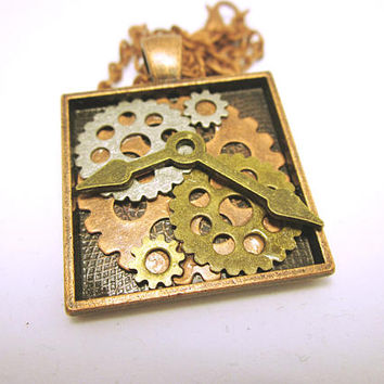 PENDANT Square Pendant With Gears BohoChic Jewelry Steampunk Multiple Gear Jewelry Necklace