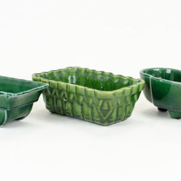 Vintage Emerald Green Planters USA and UPCO