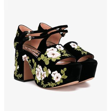 Floral Embroidered Velvet Platform Sandals - ROCHAS