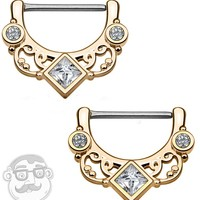 14G Rose Gold Plated Swirly Lace CZ Gem Brass Nipple Clicker Ring