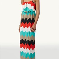 Chevron Popover Maxi Dress