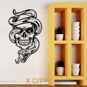 Skull Snake Tattoo Cool Tribal Wall Art Decal Sticker Removable Vinyl Transfer Stencil Mural Home Room Decor