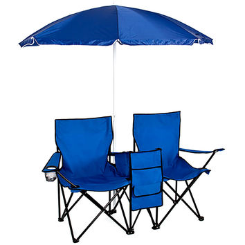 Best Choice Products Picnic Double Folding Chair w Umbrella Table Cooler  Fold Up Beach Camping Chair Blue