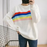 2016 autumn and winter the new Korean version of the college wind color striped knit cape rainbow sweater women-in Pullovers from Women's Clothing & Accessories on Aliexpress.com | Alibaba Group