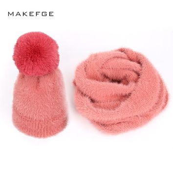 Adult children's solid color women Scarf, Hat & Glove Sets  warm and mask caps ladies autumn and winter boy girl universal poms