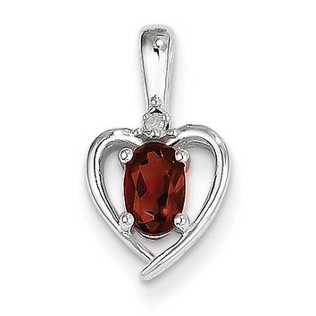 14k White Gold Genuine Oval Garnet and Diamond Heart Pendant
