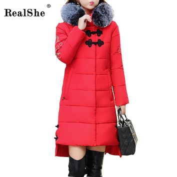 RealShe Women Winter Coat Jacket Warm Female Overcoat High Quality Quilting Cotton Coat 2017 New Winter Coats