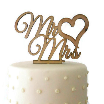 50 OFF TODAY Mr Mrs With Heart Wedding Cake Topper
