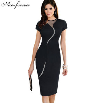 New Arrival 2015 Sexy Cocktail Fashion Mesh Women Clubwear Full Zipper Back Black Patchwork dress Elegant Slim Pencil Dress B215