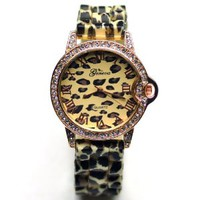 Geneva Polyurethane Crystal Gold Fashion Women's Watch Leopard Print Strap