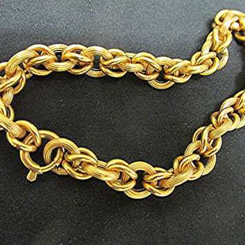 Vintage 18ct gold bracelet fancy chain 60's Italian 14g birthday anniversary gift estate.