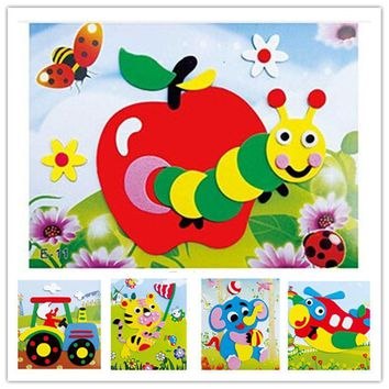 Happyxuan 20 designs/lot DIY Cartoon Animal 3D EVA Foam Sticker Puzzle Series E Early Learning Education Toys for Children