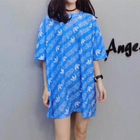 """Adidas"" Women Loose Casual Letter Logo Print Short Sleeve T-shirt Mini Dress"