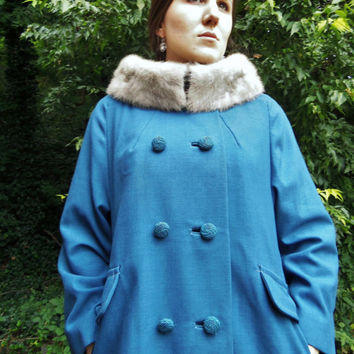 Mid Century Wool Coat Mink Collar Blue Double Breasted