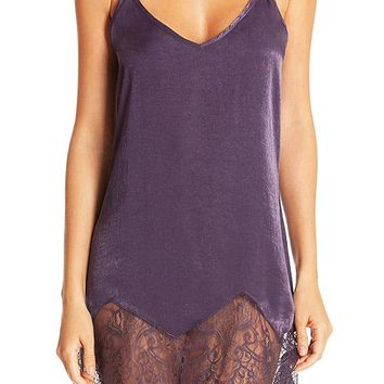 Reminisce Violet Shimmering Chemise with Lace Hem (XS-XL)