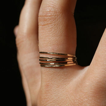 Ultra Thin Gold Filled stacking rings set of 5