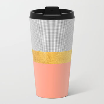 Minimalist Fashion Peach Pink + Gold + Squares Metal Travel Mug by cadinera