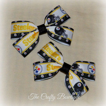 Pittsburg Steelers ~ Clippie Pigtail Hair Bow Set ~ Black and Yellow ~ Small Hair Bows ~ Sports Team Bows ~ NFL Bows ~ Football