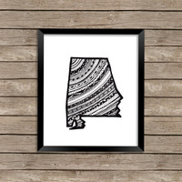 State of Alabama Art Print, Alabama Art Print, Alabama Print, Alabama Zentangle