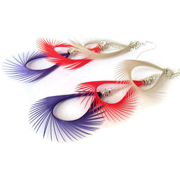 Feather Earrings Bright Orange Purple & Ivory Drop by donaarg