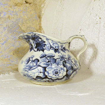 Creil Montereau transerware antique jug. Blue and white water jug. Floral transferware Ironstone pitcher Squat French antique eartenware jug