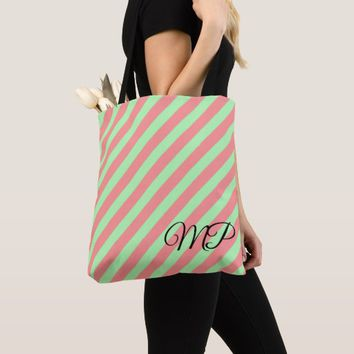 Light Green and Light Red Stripes Tote Bag