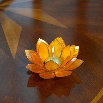Lotus Flower Candle Holder With Jewel Encrusted Case