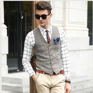 SHOWERSMILE Brand Suit Vest Men Jacket Sleeveless Beige Gray Brown Vintage Tweed Vest Fashion Spring Autumn Plus Size Waistcoat