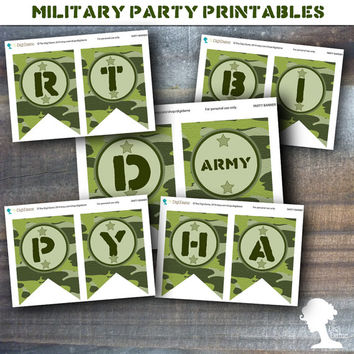 Party Printable Military Army Soldier Boot Camp Happy Birthday Banner in Green Camouflage