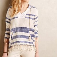 Akumal Fringed Hoodie by Staci Woo Blue Motif