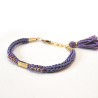 Purple bracelet with tassel charm, friendship bracelet with rhinestones, knit bracelet