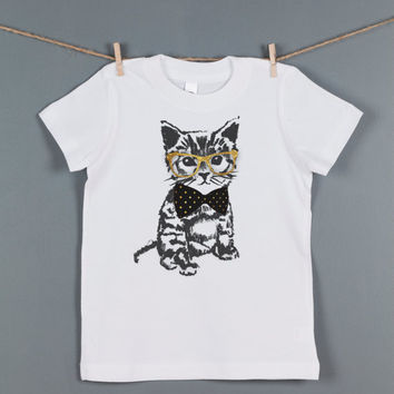 Children's Hipster Kitten T Shirt, Kid's CAT Graphic T Shirt, Toddler Tee,  Unisex American Apparel Shirts, Perfect Birthday