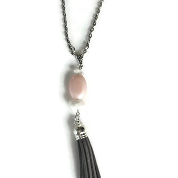 Karma + Love Rose Quartz Layered Tassel Necklace