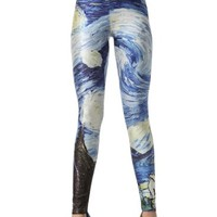Blooms - Galaxy Colorful Calico Painting Footless Pantyhose Leggings Quality Assurance One Size Multi-Color Chose (DK19)