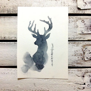 CHRISTMAS SALE ....  Original Abstract Painting Deer - original contemporary fine art - drawing on paper - abstract
