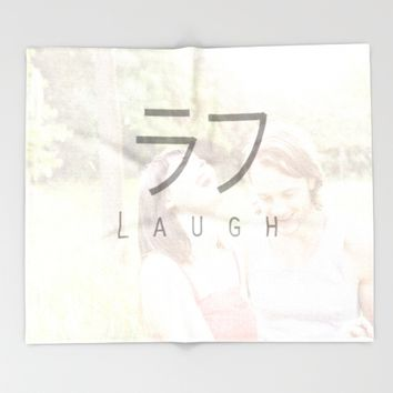 Laughing_JapaneseWord Throw Blanket by MusyeeChan
